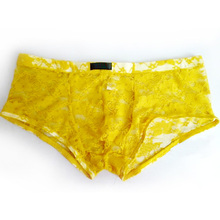 Mens Transparent Lace Boxer Shorts Underwear New Style Sexy Brand Low Waist Male Boxers Underpants Panties Funny