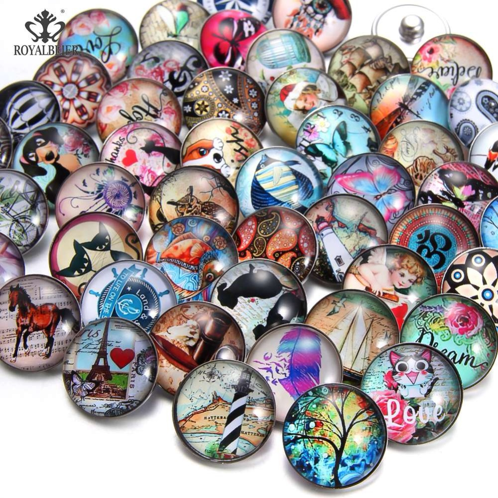 RoyalBeier 20pcs/lot Mixture Fish Snap Button Animal 18mm Glass Life Tree Beads Regro Charms For Snap Bracelet Snap Jewelry