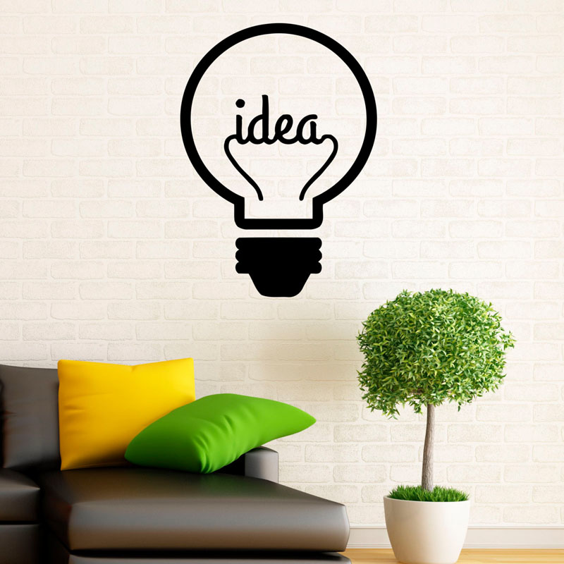 idea symbol lightbulb wall decals creative design art vinyl wall stickers murals for living room decorations