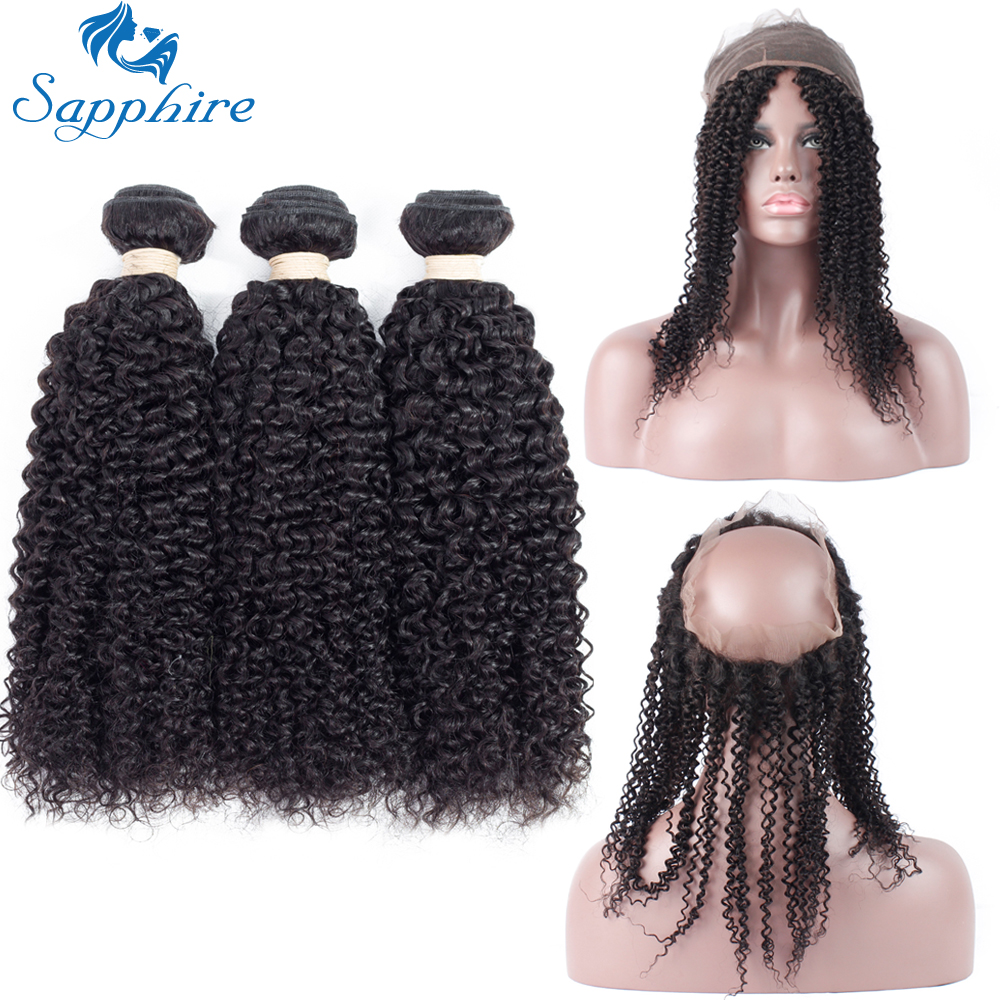 Sapphire Kinky Curly Remy Human Hair Bundles With 360 Frontals Closure Natural Color Salon Hair High