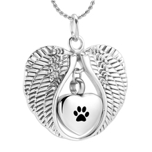 K7438 Крыло ангела с принтом Лапы Ожерелье кремации ювелирные изделия для кулон с пеплом урна в виде сердца мемориальное ожерелье для собаки кошки на память