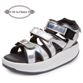 New 2016 Summer Women's Sandals Slippers Leather Sandals Punk Casual Sandals For Women Flat Silver Sandals Wedge Platform