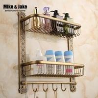 Bathroom Antique Brass Europe Style Bathroom Shelf Cosmetic Holder Bathroom Shelf With Hooks Basket For Bathroom