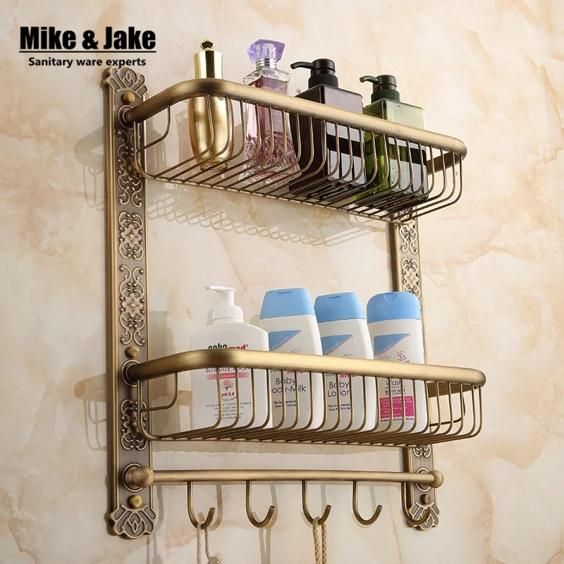 Bathroom antique brass Europe Style bathroom  shelf cosmetic holder bathroom shelf with hooks basket for bathroom shelf 40cm antique double brass bathroom shelf with green stone towel holder bathroom shelf with hooks basket for bathroom holder ssl s49