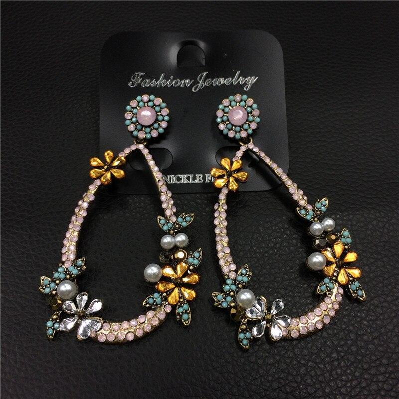 Роскошная обувь с украшением в виде кристаллов Свадебные Большой Серьги завод Pearl Свадебная вечеринка Висячие серьги роковой цветок кулон …
