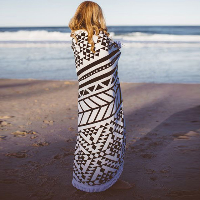 150CM Round Beach Towel With Tassels Microfiber Large Reactive Printing Beach Towels Serviette De Plage Adulte 2016 Bath Towel