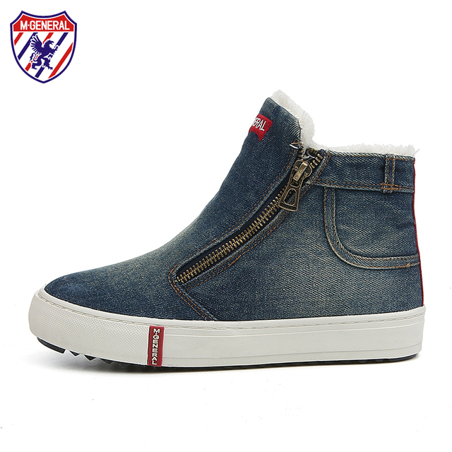 M. EN GENERAL Las Mujeres de Moda de Invierno Zapatos de Plataforma de Lona de Algodón Hembra Jeans Casuales Cremallera Zapato Zapatos Mujer Zapatillas # MJ-0155