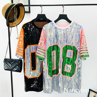 NANCYLIM Sequins T-shirt Women 2019 Summer New Sequined Hit Color Loose Sparkling Short Sleeve T-shirt Girl Hip Hop Oversize Tee