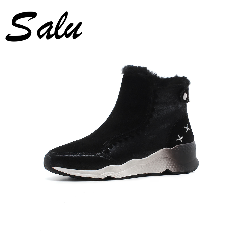 все цены на Salu 2018 new fashion Genuine Leather Women snow Boots winter warm women ankle Boots flat platform Femal Shoes big size 10 онлайн