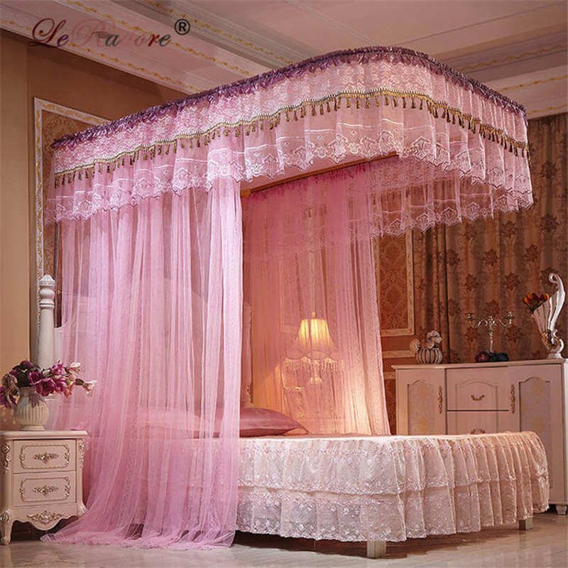 LeRadore Noble Rail Mosquito Nets for King Queen Full Size Slide Guide Bed Curtains Mosquitera 3 Openings for Double Bed