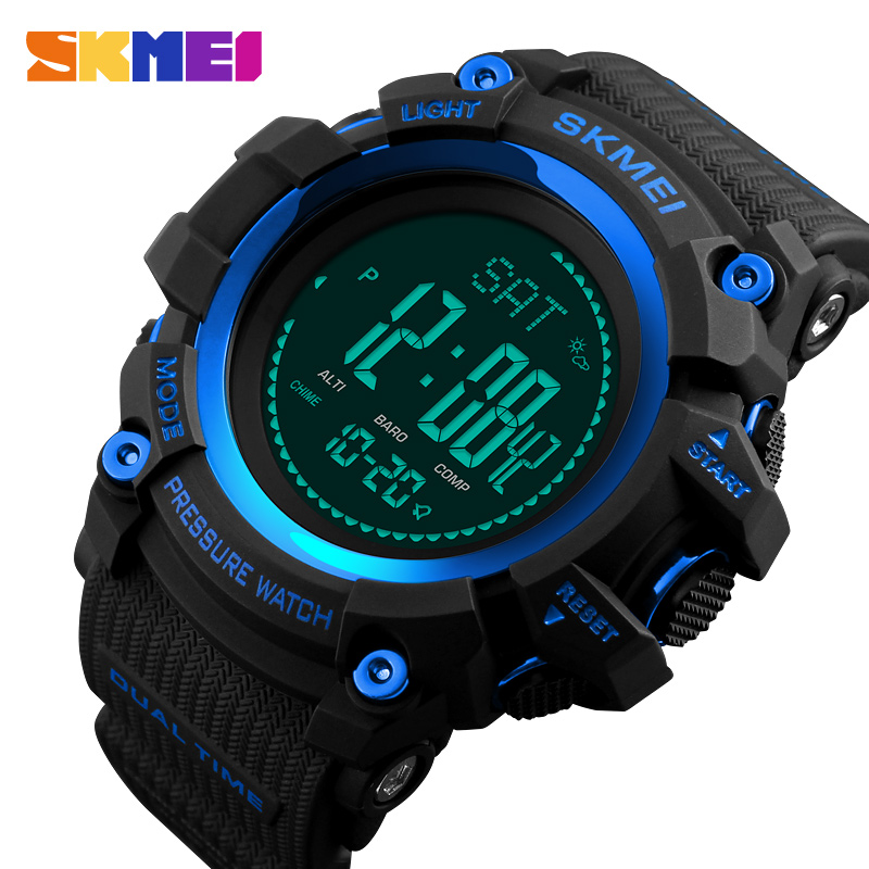 <font><b>SKMEI</b></font> Mens Outdoor Sport Watches Pedometer Calories Digital Wristwatches Temperature Weather Compass Men Watch Relogio Masculino image