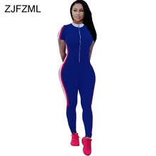 29440370bc80 Double Side Striped Sexy Skinny Bodysuits For Women O Neck Short Sleeve  Club Party Catsuit Casual