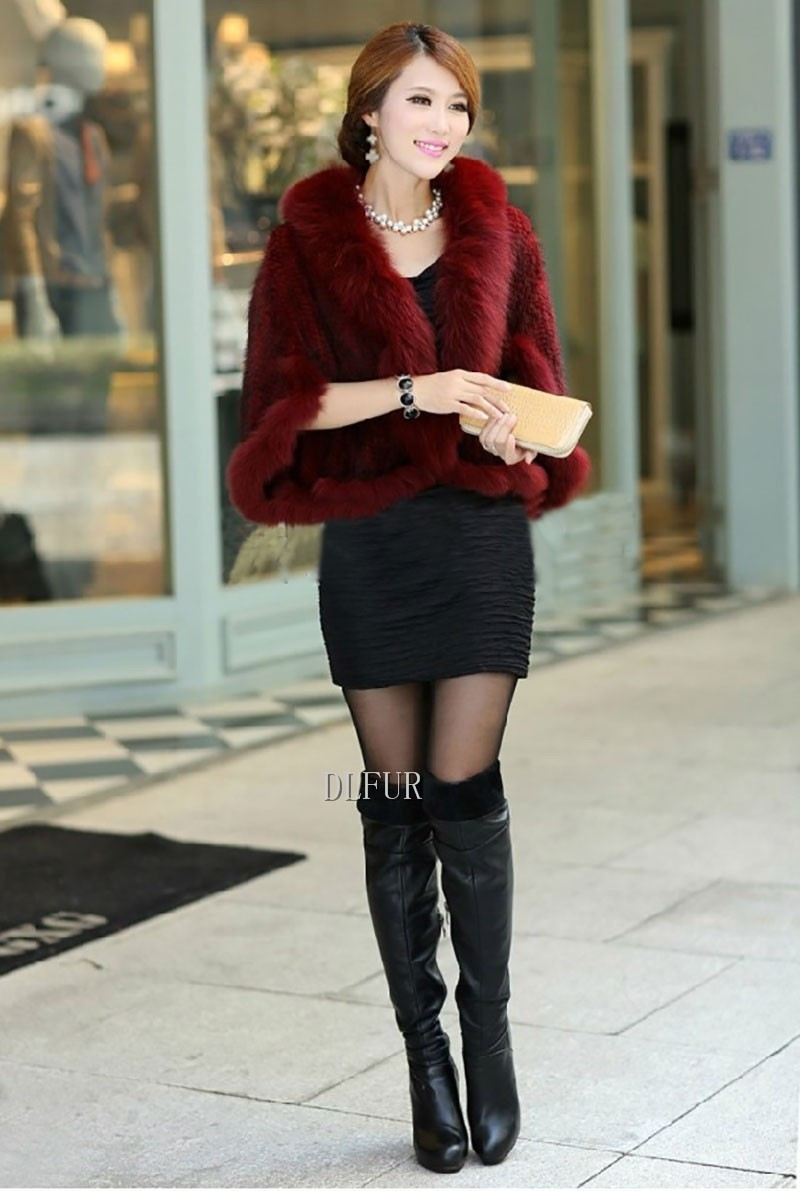 Hot Sale Genuine Mink Fur Shawl With Fox Fur Trim Women Natural Mink Fur Poncho Winter Knitted Mink Fur Jackets DL6235 (3)