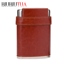 BIUBIUTUA 8oz Outdoor Portable Flask Mini Stainless Steel Hip Flasks Lid With 3 Cups Leather Covered Flagon Flask For Alcohol