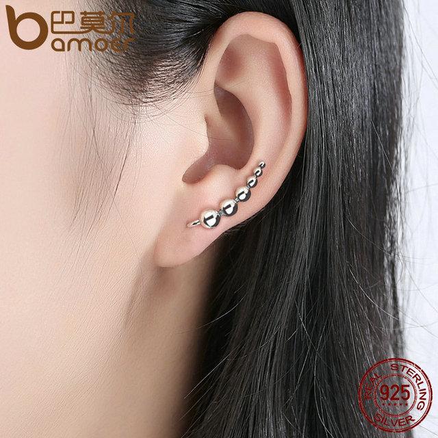 Sterling Silver Round Bean Long Drop Earrings