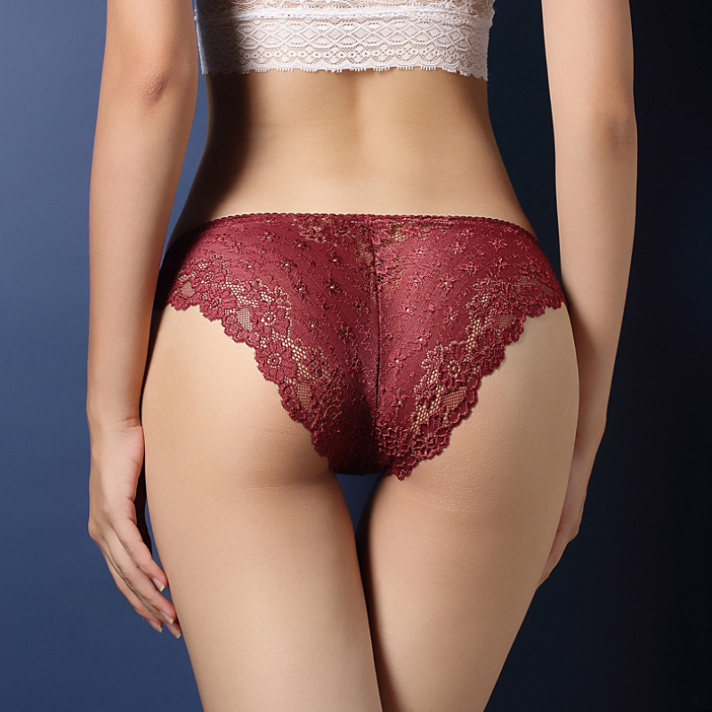 Sexy Low Waist Lace Transparent Crossdresser Panties Thong -7143