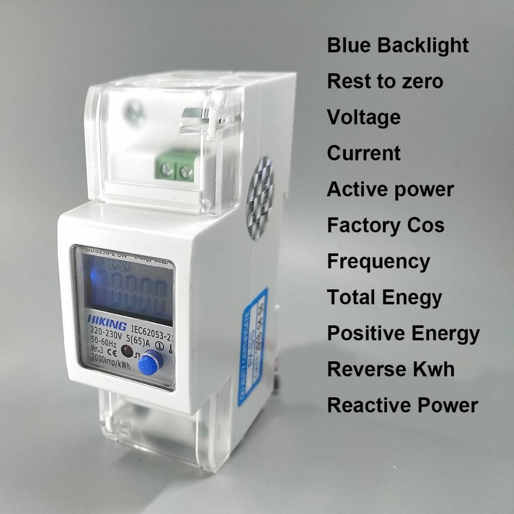 5(65)A 220V 230V 50HZ 60HZ voltage current Positive reverse active reactive power Single phase Din rail Watt hour energy meter
