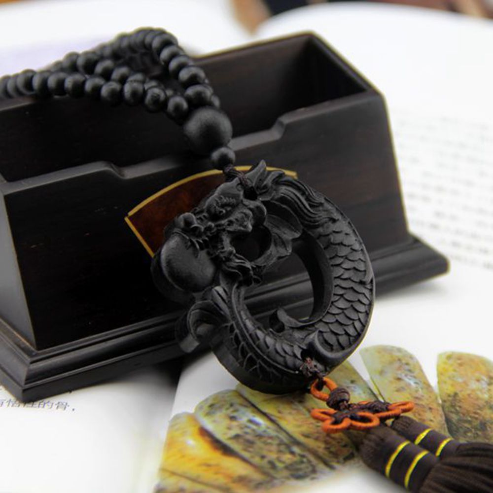 Car Pendant Ebony Wood Carving Chinese Dragon Fengshui Sculpture Prayer Beads