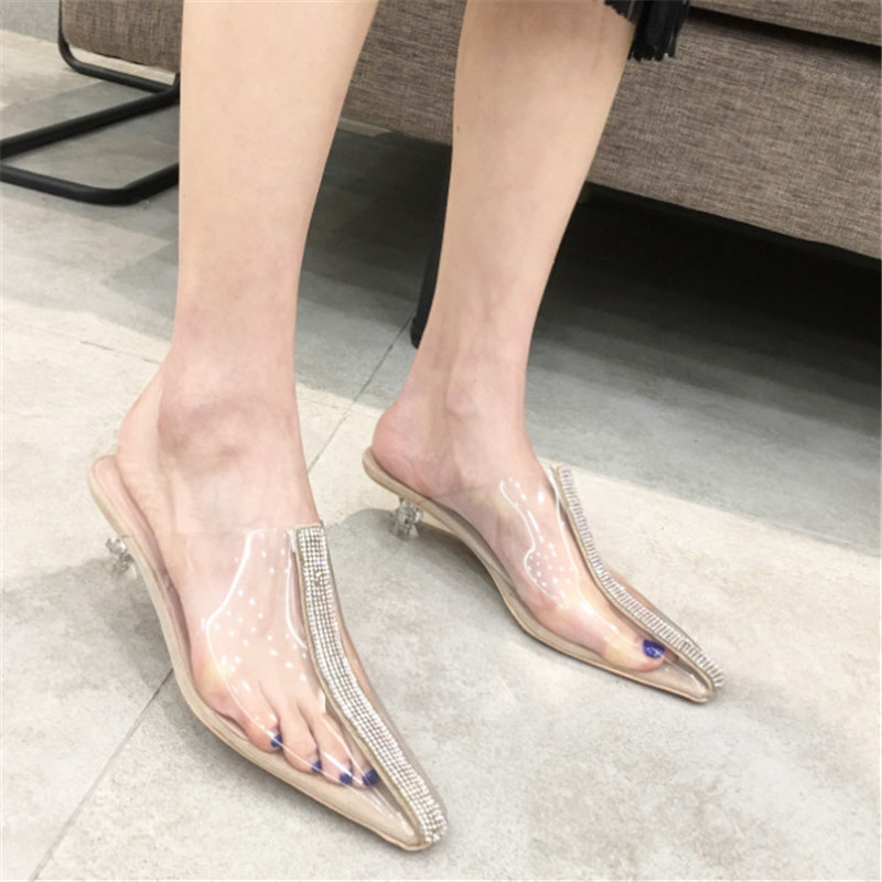 New Arrive Crystal Women Sandals Fashion Clear Heel Transparent Shoes Women High Heels With Rhinestone Summer Shoes For Women