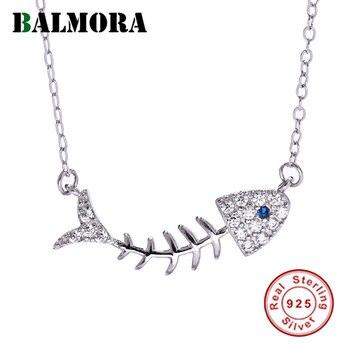 c54e84549905 BALMORA 925 huesos de pescado Zircon collares colgantes para las mujeres  señora regalo joyería lindo manera 43 + 5 cm cadena JDN1314