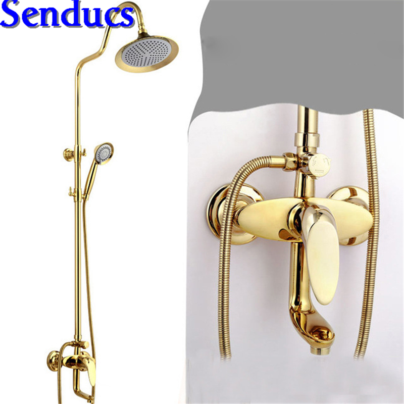 Senducs Gold Shower Set with Newly Design Brass Shower System for Hot Sale Bathroon Golden Shower Set Quality ABS Top Shower