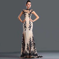 Robe-de-Soiree-2014-Free-Shipping-New-Arrivals-Black-Lace-Appliqued-Cap-Sleeve-Mermaid-Evening-Dresses