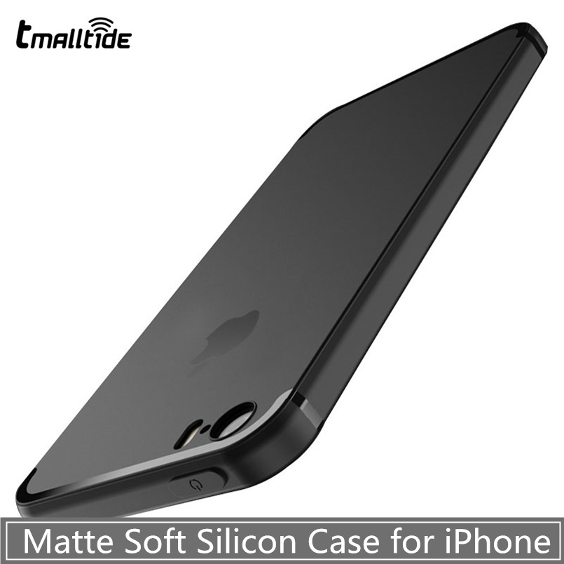 Tmalltide Brand Luxury Back Matte Soft Silicon Case for IPhone 6 Cases 6s Plus Black Color Full Cover IPhone 7 Case Plus Phone