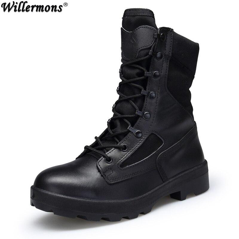 где купить Military Outdoor Men's Anti-slip Desert Combat Safety Work Boots Shoes Men High Top Army Tactical Boots Botas Hombre по лучшей цене