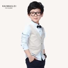 Boy's 100% cotton shirt male child spring long-sleeve shirt big boy top vest faux two piece shirt