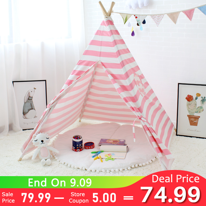 Stripe Tipi Tent Toys for Children Teepee Christmas Gift Kids Play Room Baby Canvas Cotton Game Tent Indoor Playhouse Four Poles mushroom kids play hut pink blue children toy tent baby adventure game room indoor outdoor playhouse