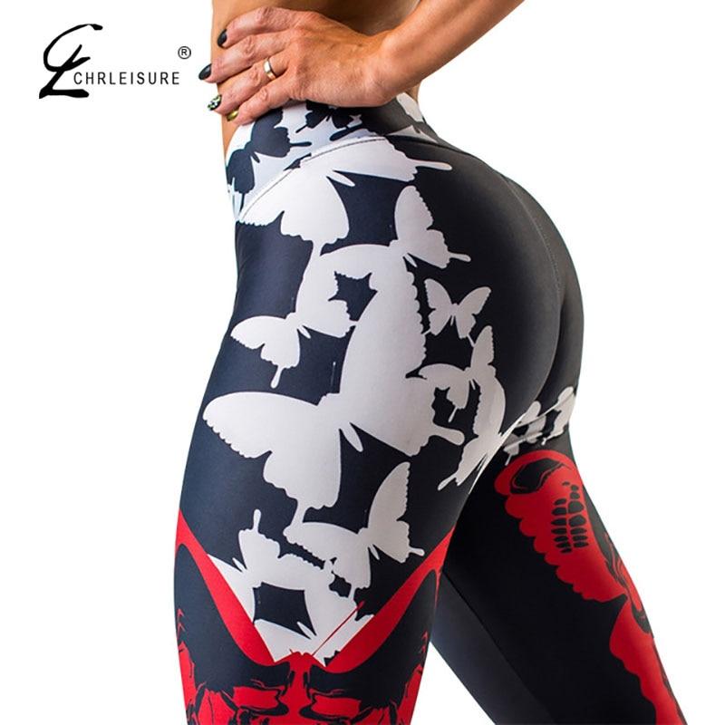 CHRLEISURE Sexy High waist Push Up leggings  Butterfly Print Leggings Women Sporting and Fitness Leggins Mujer S-L