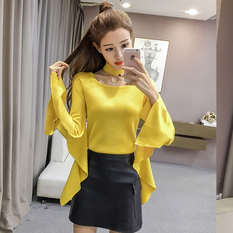 2017 New Fashion Women Sweater Full Sleeve Solid Sweater Split Ruffles Long Sleeves Design Simplee Slim Halter Knitted Sweater