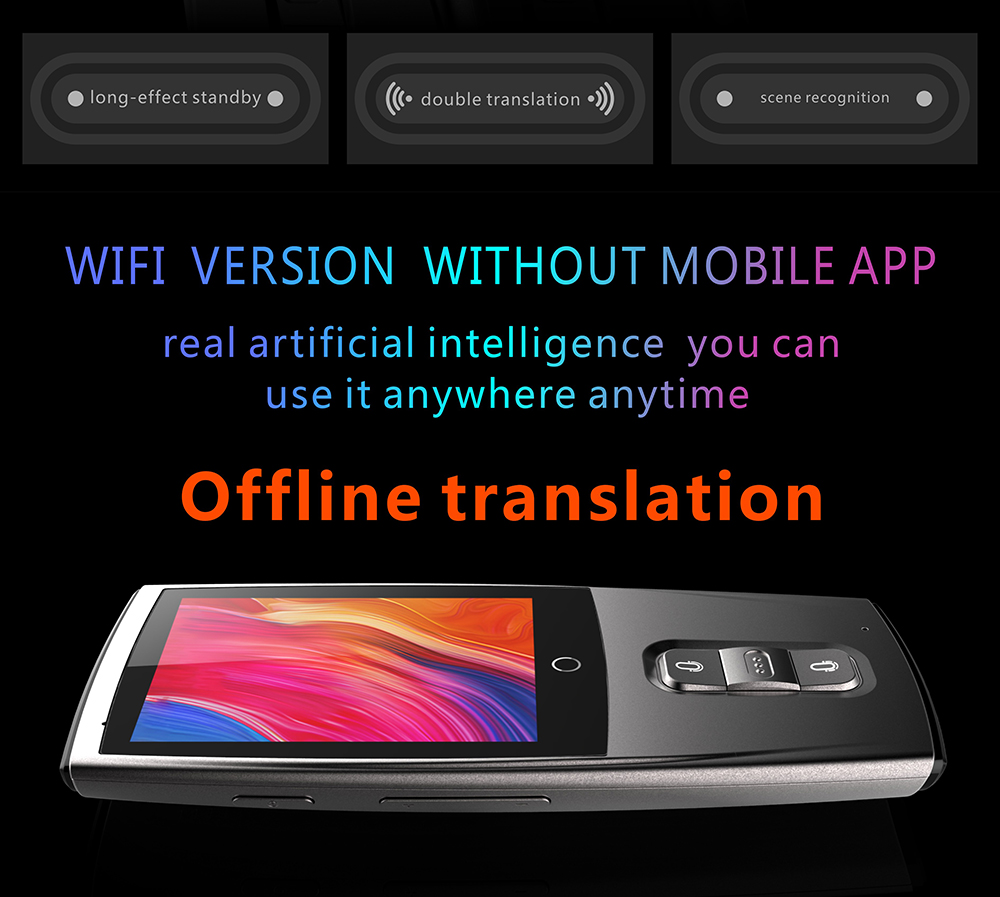 LEORY Portable Travel Partner Smart Voice Translator Touch-Screen WIFI 4G  Voice bluetooth speaker 2 4 inch 45 Multi-language