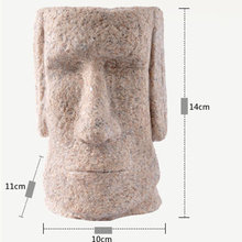 Home Decoration SandStone Easter Island Moai Figurines Pen Holder Miniatures Day Pukao Statuettes Vintage Decor Gray