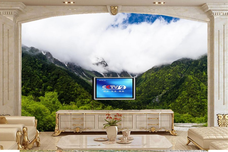 Large 3d murals,Scenery Mountains Forests Clouds Nature wallpapers,living room sofa tv wall children bedroom papel DE parede