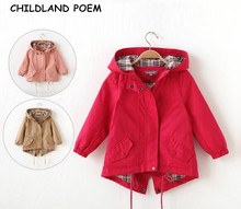 2017 spring girls jacket hooded girl coats and jackets cotton children jacket clothing girls trench coat kids clothes girls