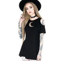 Women Black Gothic Dress Summer Vintage Sexy Off Shoulder Moon See Though Mini Dresses Casual Punk Party Nightclub Girls Dress