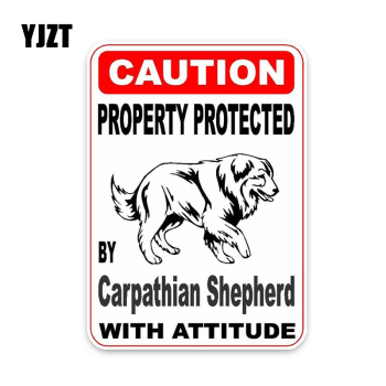 YJZT 11.4*16CM Property Protected By Carpathian Shepherd Dog Car Decoration Bumper Window Sticker C1-4697 image