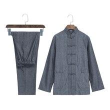 Мужской осенний серый костюм кунг-фу, китайский стиль, Wu Юбка Shu& брюки, хлопковые комплекты, лидер продаж, одежда для Тай-Чи, M-4XL