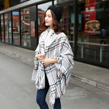 2015 za Scarf Women Tartan scarves scarf Beige Cozy Checked Blanket Oversized Wrap Shawl