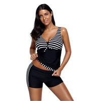 386326b39ca Bsubseach Striped Print Swimwear Women Two Piece Set Sexy V Neck Tankini  Top And Short Costume