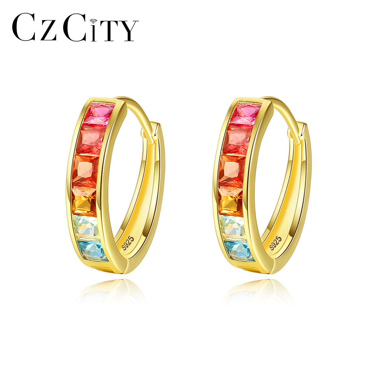 CZCITY Round Colorful Topaz Hoop Earrings for Women Fine Jewelry 925 Sterling Silver Boucle D'Oreille Femme Bijoux Gifts SE0124