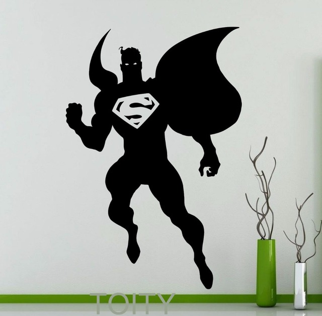 Aliexpress.com : Buy Superhero Man Mural Silhouette Wall ...