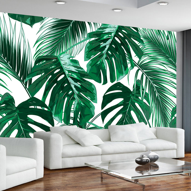 Custom Photo Wallpaper Murals 3D Modern Hand Painted Tropical Rainforest  Banana Leaves Pastoral Wall Painting Mural