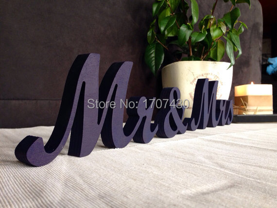 Head Table Mr & Mrs Sign Painted In Royal Blue. Wedding