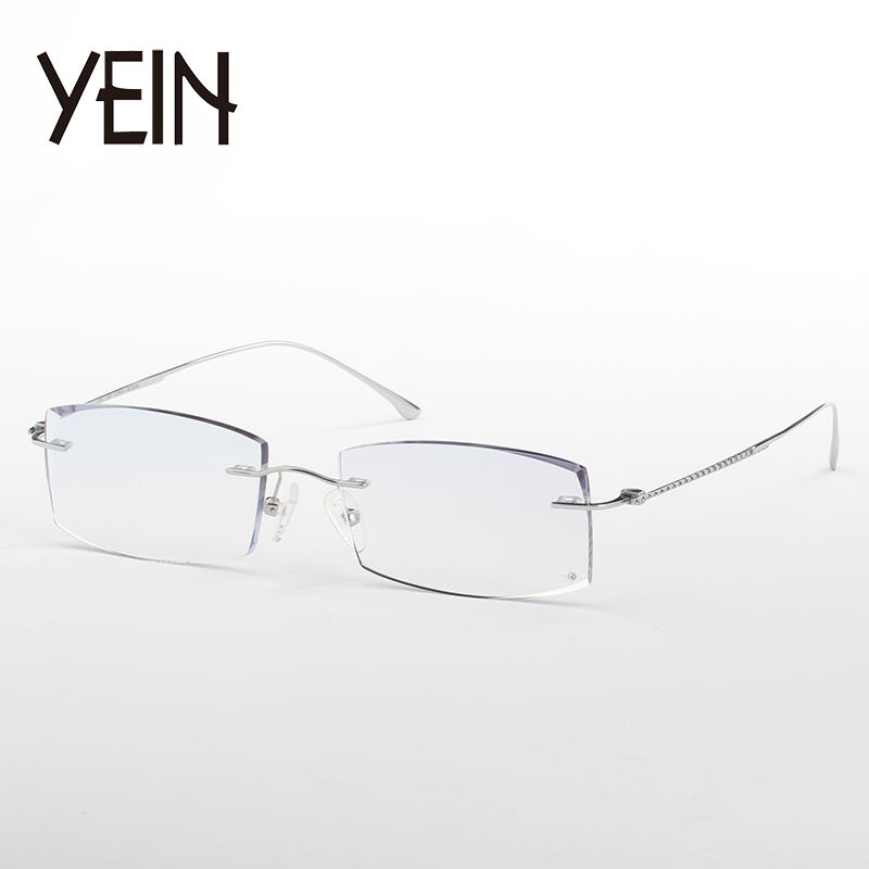 yein Business Style Myopia Glasses Men prescription Eyeglasses Clear Lenses Colored Reading Glasses Optical Rimless Hyperopia