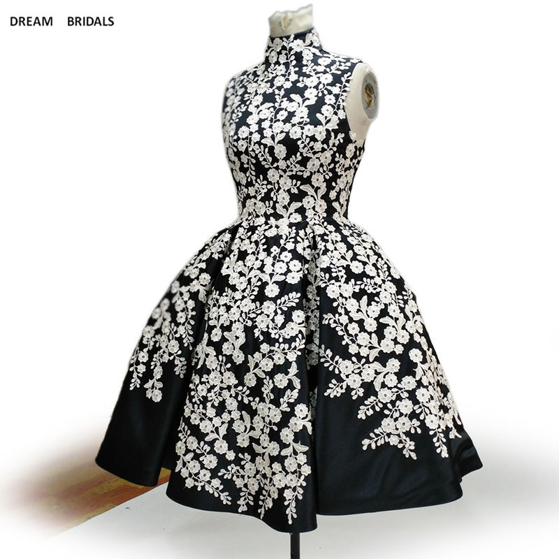 vestido de festa High Neck Black Stain White Lace   Cocktail     Dress   Sleeveless Short Party Wear   Dresses   Women