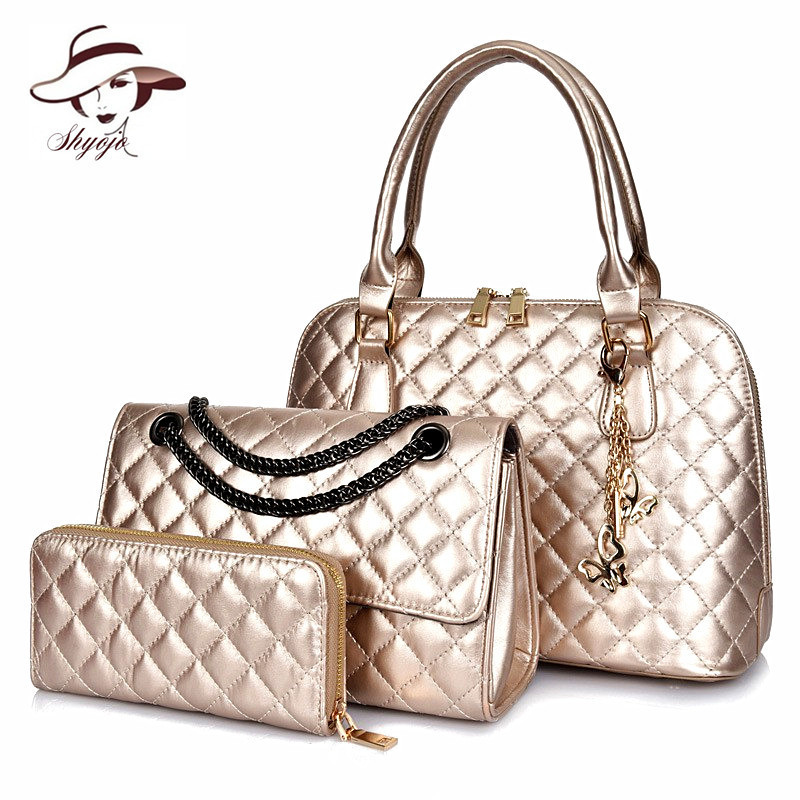 3 Set Composite Bag Shell Women Messenger Bag Chain Plaid Shoulder Handbag With Wallet High Quality Leather Party Crossbody Tote