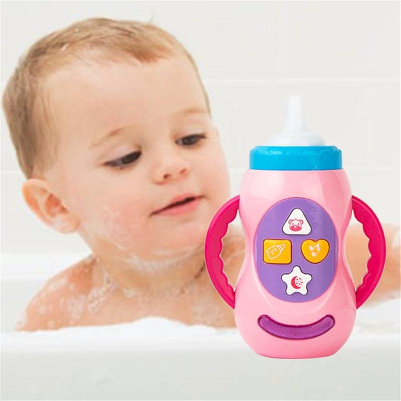 LED Flashing Simulation Baby Bottle With Music Children Educational Toys Without Battery DIY baby doll feeding bottle