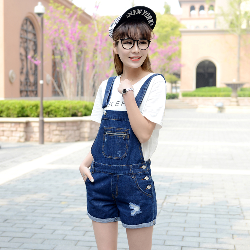 2016 bib new summer Korean fashion overalls shorts female thin Slim Lady autumn jeans Short jumpsuits Z1951